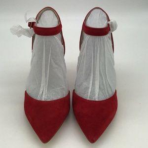 Louise et Cie Red Suede Ankle Strap Pumps Size 7.5
